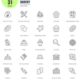 Prosty zestaw ikon linii wektorowych związanych z piekarnia