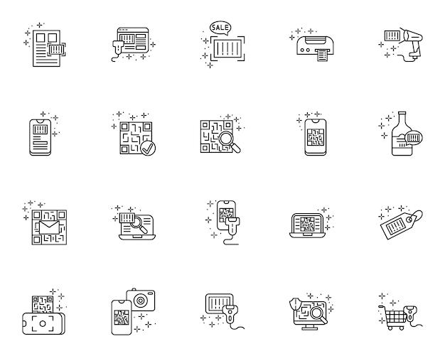 Prosty zestaw ikon linii związanych z kodem qr i kodem kreskowym