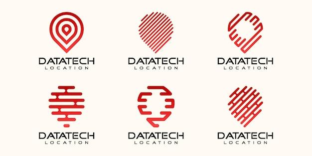 Prosty zestaw ikon lokalizacji pinów, pin połączony element cyfrowy lub dane. szablon projektu logo