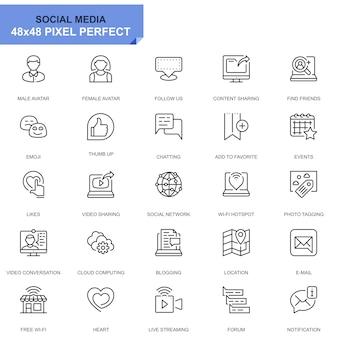 Prosty zestaw ikon mediów społecznościowych i linii sieciowych