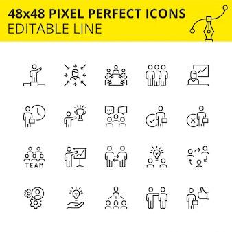 Prosty zestaw ikon obrysu do pracy zespołowej i ludzi biznesu. zawiera takie ikony, jak spotkanie, współpraca, inspektor, struktura zespołu itp. pixel perfect. linia. .