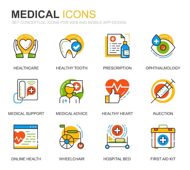 Prosty zestaw ikon opieki zdrowotnej i linii medycznych na stronie internetowej