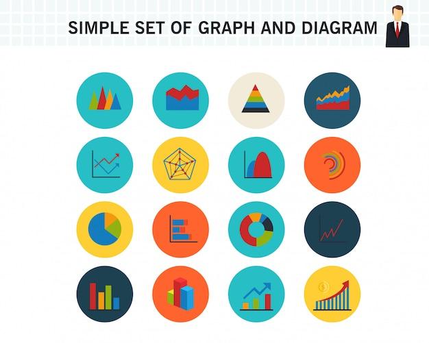 Prosty zestaw ikon płaskie koncepcja wykres i wykres