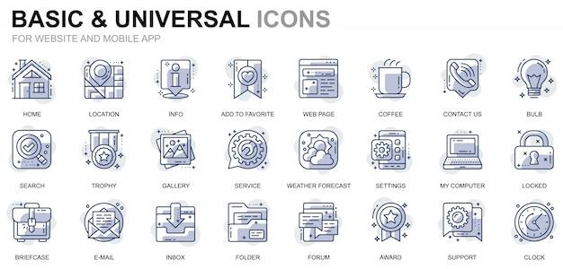 Prosty zestaw ikon podstawowych linii dla stron internetowych i aplikacji mobilnych