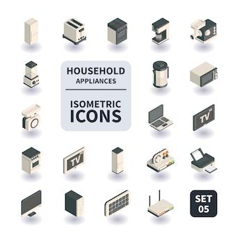 Prosty zestaw ikon urządzeń gospodarstwa domowego.