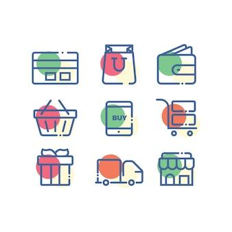 Prosty zestaw ikon zakupów