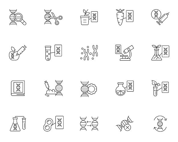 Prosty zestaw ikon związanych z genetyką w stylu linii