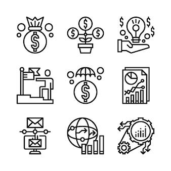 Prosty zestaw ikon związanych z marketingiem linii.