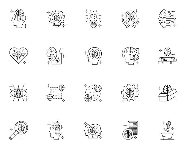 Prosty zestaw ikon związanych z mózgiem w stylu linii