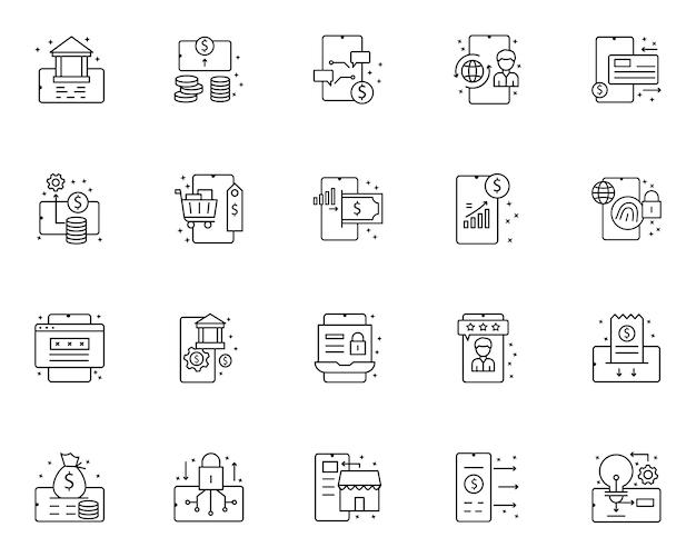 Prosty zestaw ikon związanych z płatności mobilnych w stylu linii