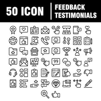 Prosty zestaw ikon związanych z referencjami linii. zawiera takie ikony, jak zarządzanie relacjami z klientem, informacje zwrotne, przegląd