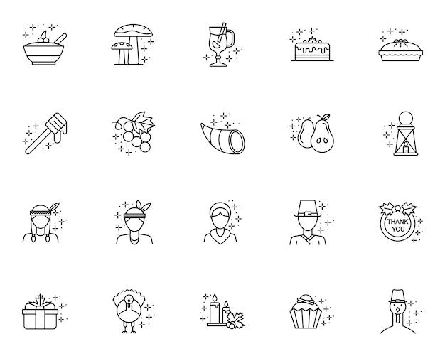 Prosty zestaw ikon związanych z święto dziękczynienia w stylu linii