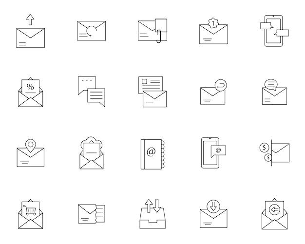Prosty zestaw ikon związanych z wiadomościami e-mail w stylu linii