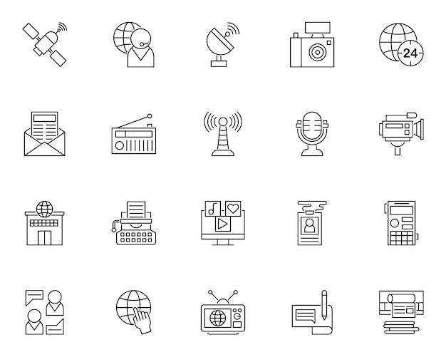 Prosty zestaw ikon związanych z wiadomościami w stylu linii