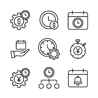 Prosty zestaw ikon związanych z zarządzaniem czasem linii wektorowych.