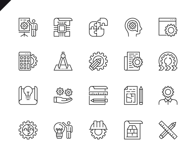 Prosty zestaw inżynierii projektowania powiązane ikony linii wektorowej.