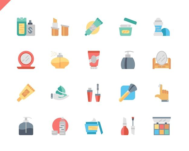 Prosty zestaw kosmetyków płaskie ikony dla witryny i aplikacji mobilnych.