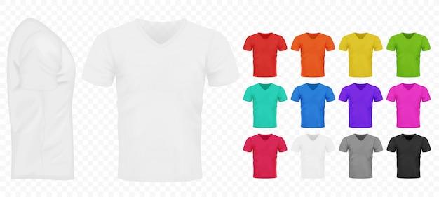 Prosty zestaw koszulek męskich w kolorze czarnym, białym i innych podstawowych kolorów.