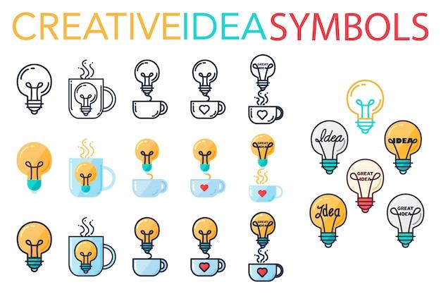 Prosty zestaw kreatywnych pomysłów na sukces. symbole innowacji