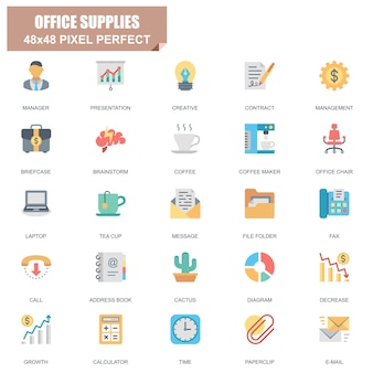 Prosty zestaw materiałów biurowych związanych z płaskim wektorowe ikony