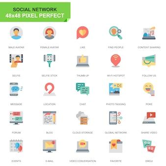 Prosty zestaw mediów społecznościowych i sieci płaskie ikony