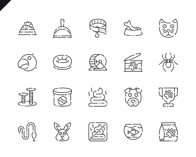 Prosty zestaw pióro i ikony linii zwierząt