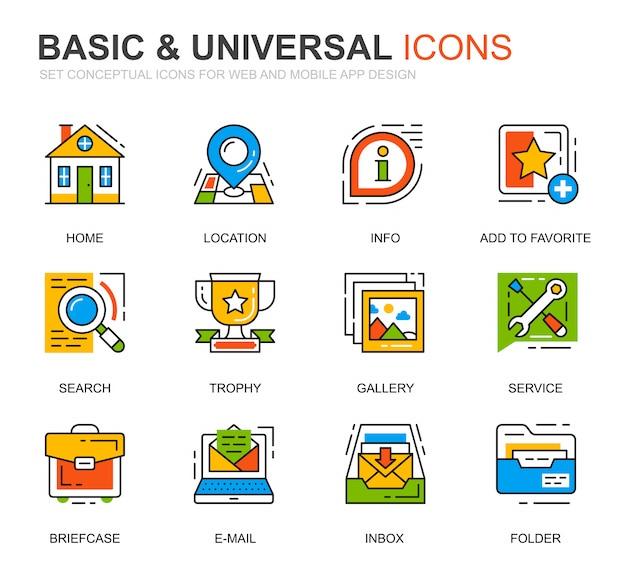 Prosty zestaw podstawowych ikon linii na stronie internetowej