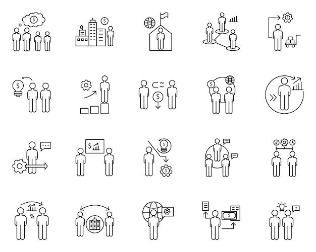Prosty zestaw przeludnienia związane wektorowe ikony linii