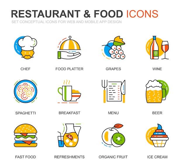 Prosty zestaw restauracja i ikony linii żywności na stronie internetowej