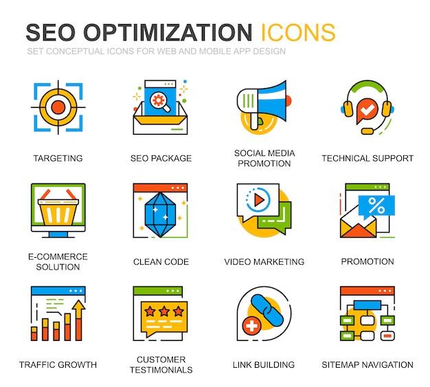Prosty zestaw seo i ikony linii web optymalizacja witryny