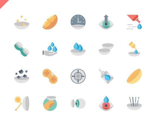 Prosty zestaw soczewki oka płaski ikony dla witryny i aplikacji mobilnych.