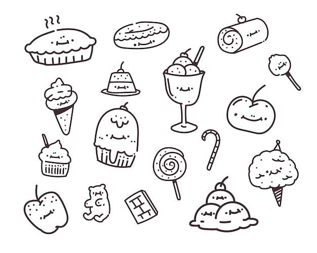 Prosty Zestaw Stylu Doodle Deser. Słodki Rysunek Premium Wektorów