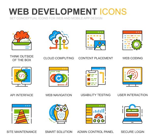 Prosty zestaw web disign i ikony linii rozwoju dla witryny