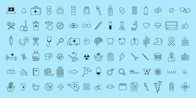 Prosty zestaw wektor cienka linia ikon medycznych i naukowych