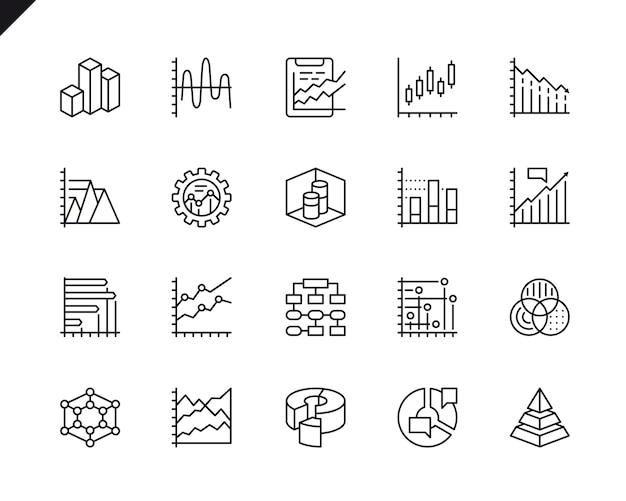 Prosty zestaw wykresów i powiązanych ikon wektorowych linii.