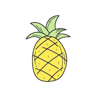 Prosty żółty ręcznie rysowane ananas ikona na białym tle. jasne egzotyczne owoce