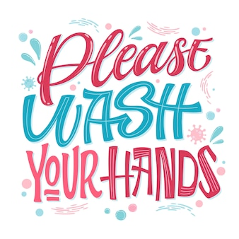 Proszę umyć ręce - ręcznie narysowany napis. projekt o tematyce epidemii wirusów.