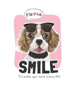 Proszę uśmiechnij się sloganem z uroczym psem z ilustracją okularów przeciwsłonecznych