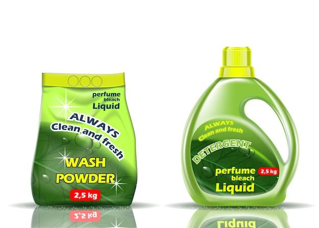 Proszek do prania. płyn i proszek w kolorze zielonym jest aromatyzowany dodatkami