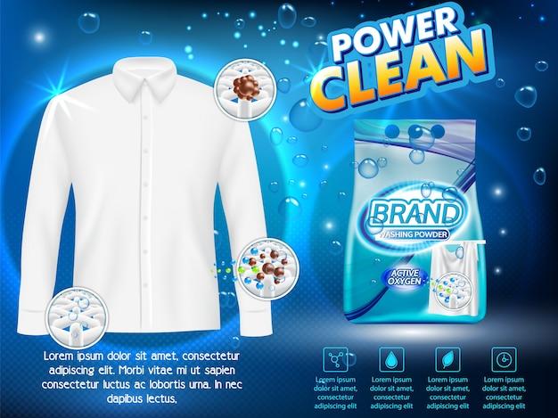 Proszek do prania reklamuje wektorową realistyczną ilustrację