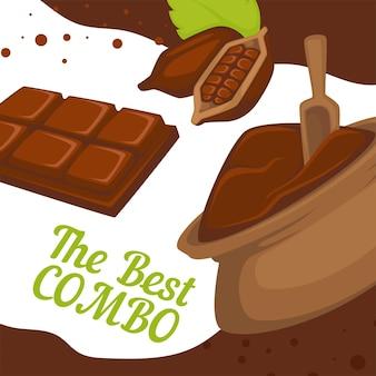 Proszek kakaowy w worku i tabliczce czekolady. najlepsza kombinacja aromatycznych składników do gotowania. deser lub pyszny dodatek. promocyjny baner lub plakat, zniżki w kawiarni lub restauracji. wektor w mieszkaniu