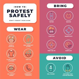 Protest bezpieczeństwa infographic zatrzymać koncepcja rasizmu