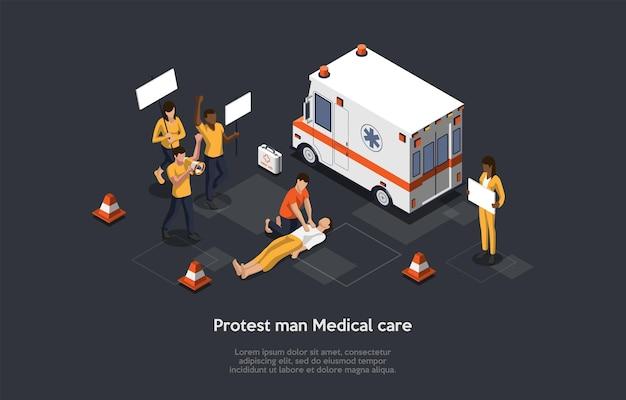 Protest człowieka opieki medycznej, koncepcja profesjonalnej pierwszej pomocy. skład izometryczny, ilustracja kreskówka w stylu 3d. projekt wektorowy. ofiary buntu, konsekwencje agresywnej siły. furgonetka ratunkowa, pracownicy.
