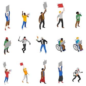 Protest demonstracja ludzie zestaw ikon izometryczny