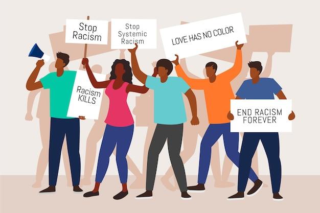 Protest przeciwko rasizmowi ilustracji