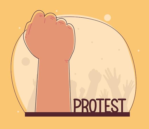 Protest z podniesioną ręką