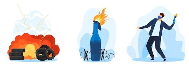 Protest zestaw ilustracji. wybuch koktajlu mołotowa. ogień i butelka.