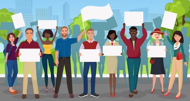 Protestuj ludzi z dużym plakatem podczas demonstracji