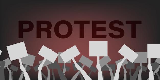 Protestuj ludzie z plakatem sylwetka, ręka trzyma protestujące banery wektor demonstracji płaskie tło