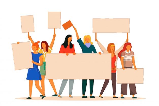 Protestująca kobieta. vector aktywistka feministyczna walka o wolność, niepodległość, równość. dziewczyna protestująca z pustym plakatem stojak na białym tle. ilustracja międzynarodowy dzień kobiety